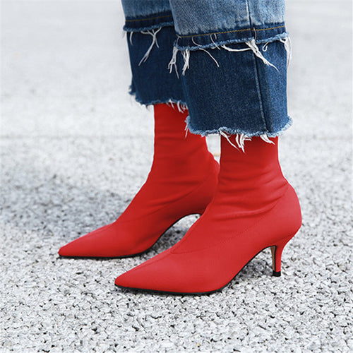 Women Sock Ankle Boots Stretch Fabric Slip On Stiletto Heels Pointed Toe