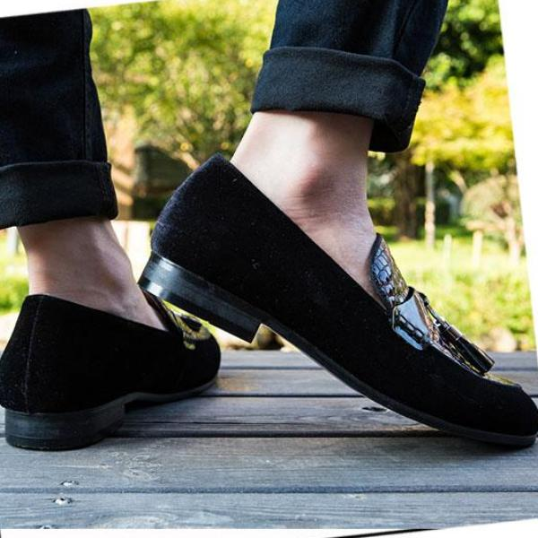 Casual Men Leather Shoes Slip-On Waterproof Solid Color