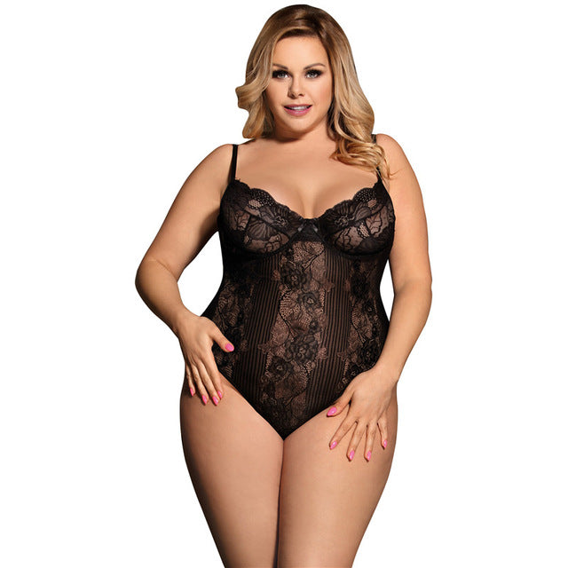 Plus Size Sheer Underwire Lace Teddy Bodysuit V Neck Bodycon Rompers Off White Jumpsuits