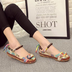 Casual Ethnic Embroidered Beaded Women Shoes Flat Heel