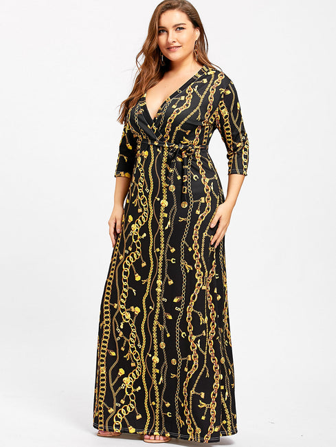 Surplice Chain Lock Print Plunging Neck Sheath Beach Dress