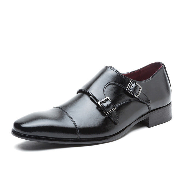 Double Strap Slip-On Leather Oxford Square Toe Classic Formal Shoes