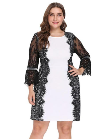 Sequined Floral V-Neck 3/4 Sleeves Dress