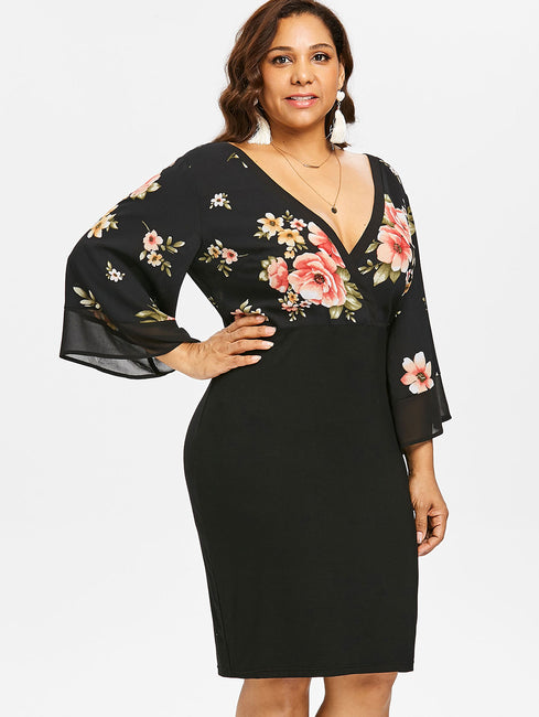 Plus Size Bell Sleeve Low Cut Floral Dress Plunging Neck 3/4 Sleeve Spring  Dresses Party OL Dress