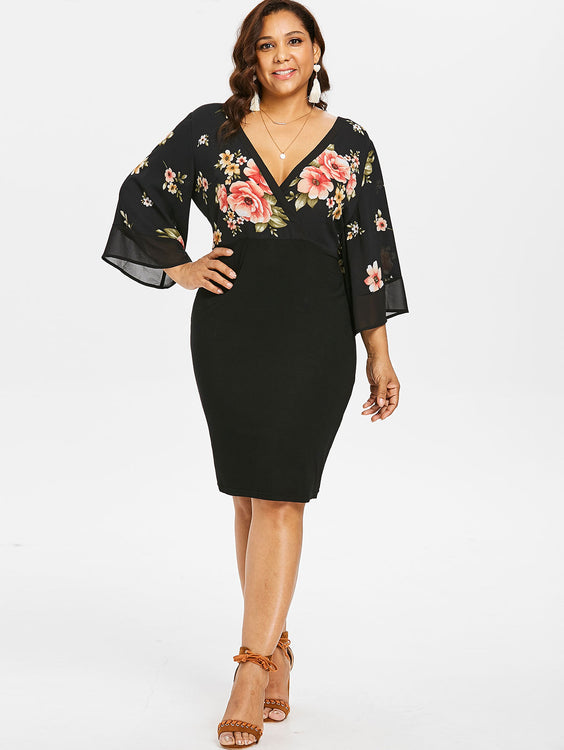c93d911a9f6 Plus Size Bell Sleeve Low Cut Floral Dress Plunging Neck 3 4 Sleeve Spring  Dresses