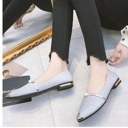 Elegant Chic Women Boat Shoes Flat Heel Pearl Decor Pointed Toe