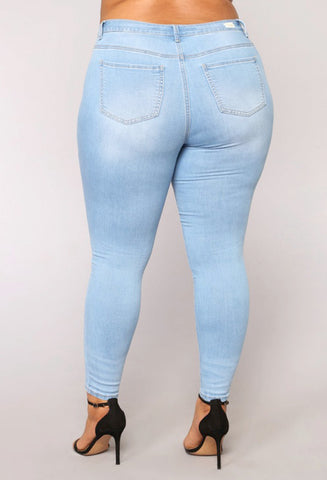 PLUS SIZE High Waist regular Pencil Blue Denim Pants bleached washed Jeans