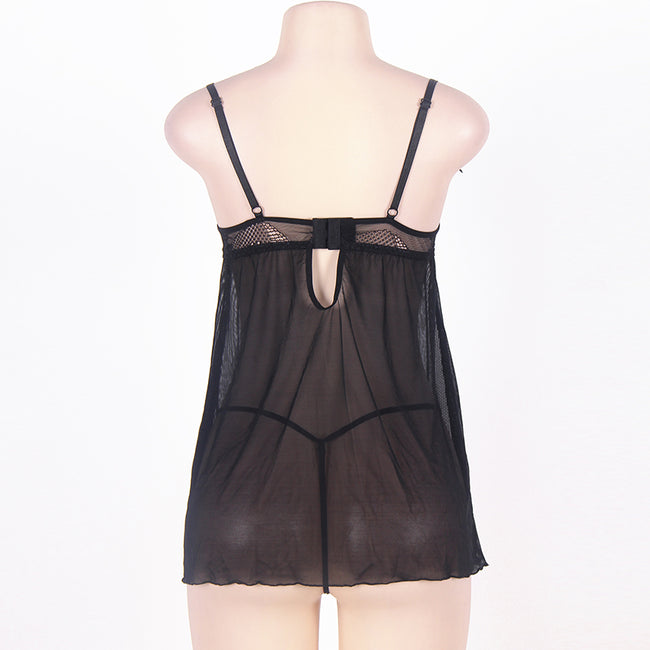 Plus Size Lingerie Black Lace Transparent Sexy Babydoll