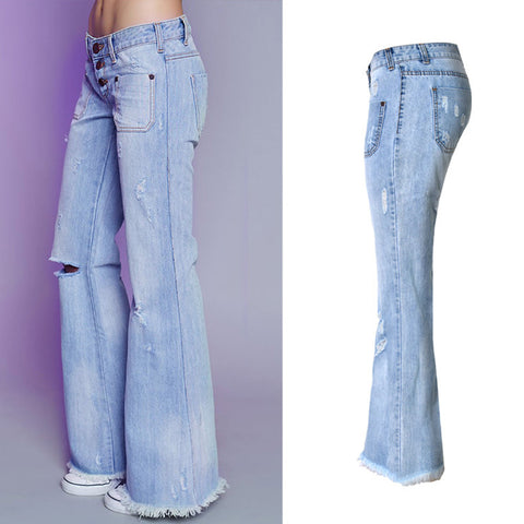 High Waist Flare Wide Leg Denim Jeans