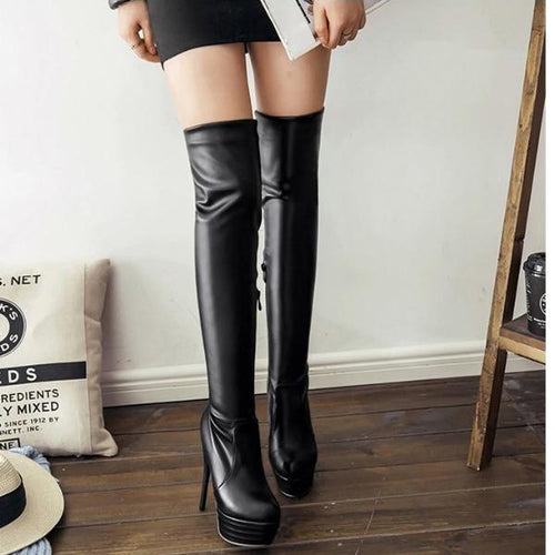 Plus Size Solid Color Boot Thin High Heel Knee Height High Platform