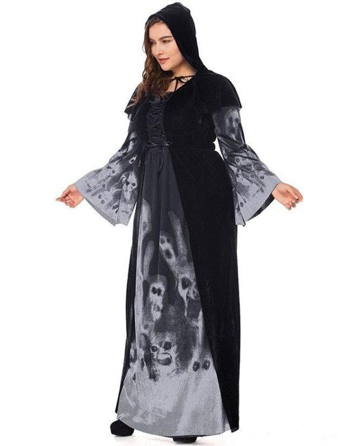 Plus Size Skull Witch Vampire Queen Costume Outfit