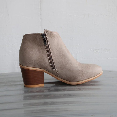 Zipper Square Heel Ankle Boots