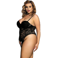 Embroidery Plus Size Push-up Cup Lace Teddy Sexy Bodysuit Combinaison Femme Jumpsuit