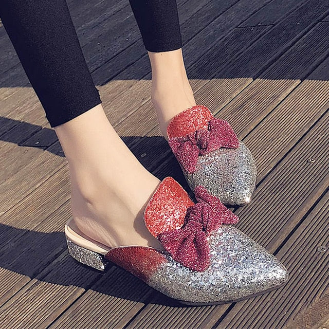 Pointed Toe Butterfly-knot Bling  Woman Shoes