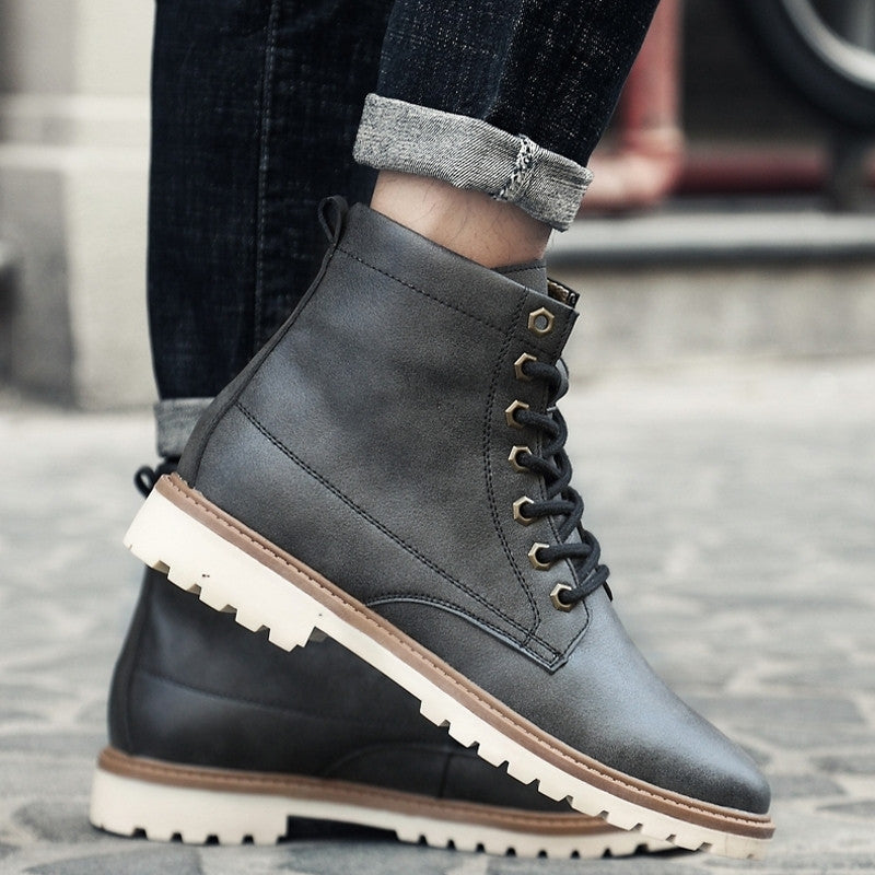 Britain Style Men Leather Ankle Boots Lace Up