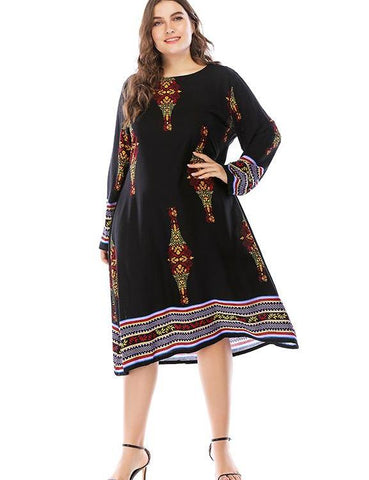 Plus Size Print Long Sleeves Oversized A-Line Swing Casual Dress