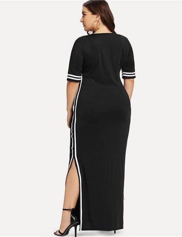 Black Striped Tape Detail Knitted Split Maxi Dress