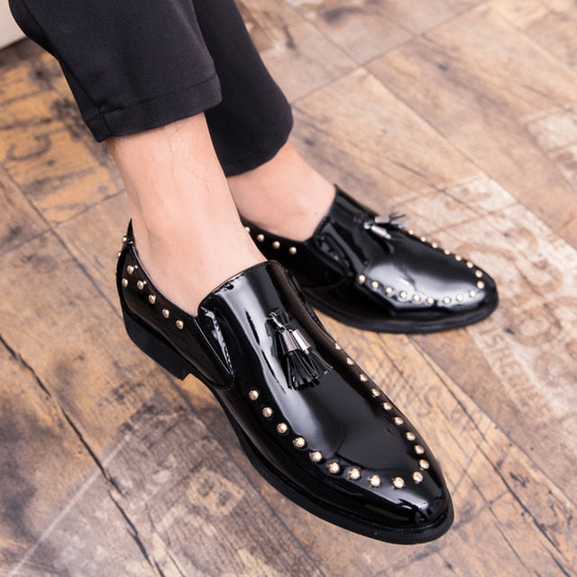 Big Size Men Leather Shoes Tassel Round Toe