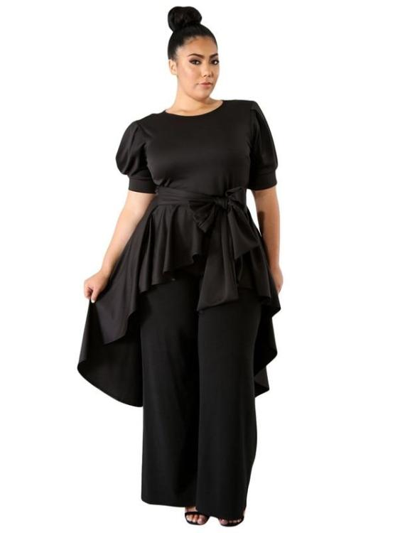 Plus Size Asymmetrical Solid Puff Long Tops With Belt
