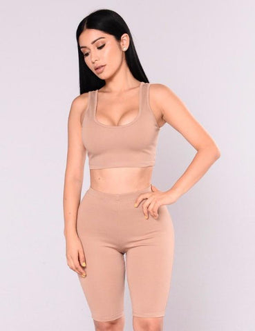Two Piece Set Solid Color Vest And Shorts Pants
