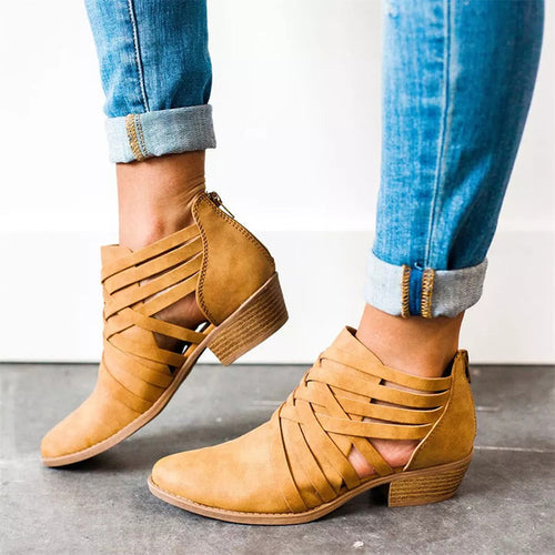 Zipper Hollow Out Sewing Ankle Boots
