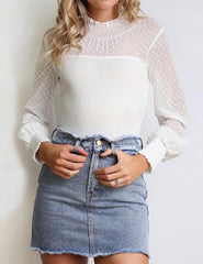 Elegant Women Lace Bodysuit Long Sleeves Crew Neck