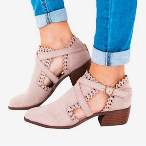 Suede Buckle Strap Hollow Out High Heels Ankle Boots