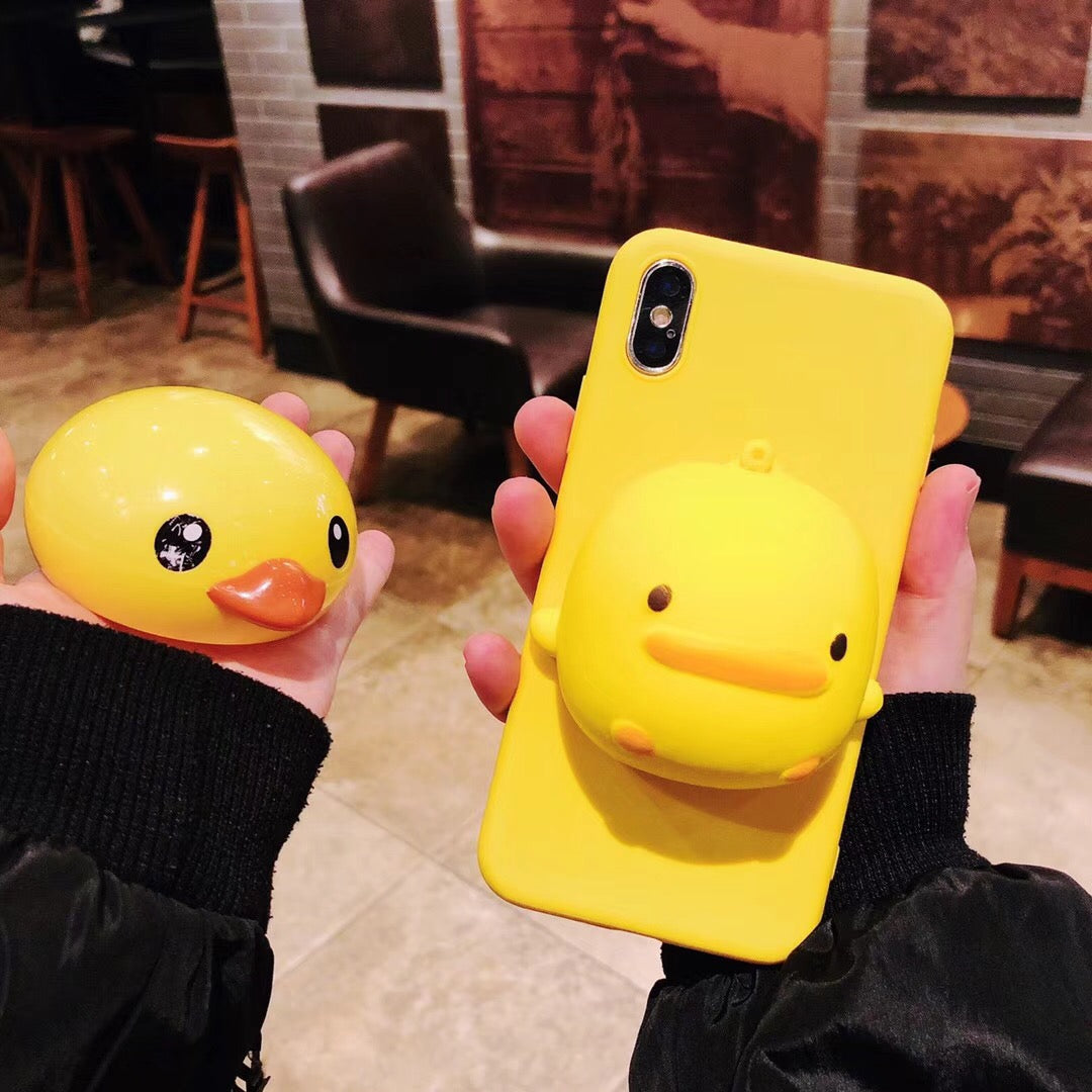 3D Cartoon Yellow Duck Bread Squishy Phone Case For iPhone XR