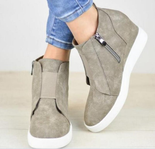 Chunky Mid Med Heels Wedge Shoes