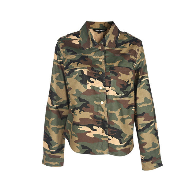 Plus Size Basic Jacket Casual Long Sleeve Camouflage Coat