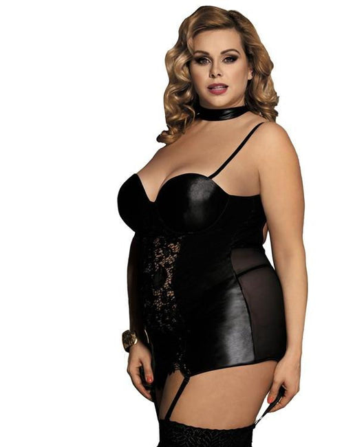 Plus Size Leather Black Lace Babydoll
