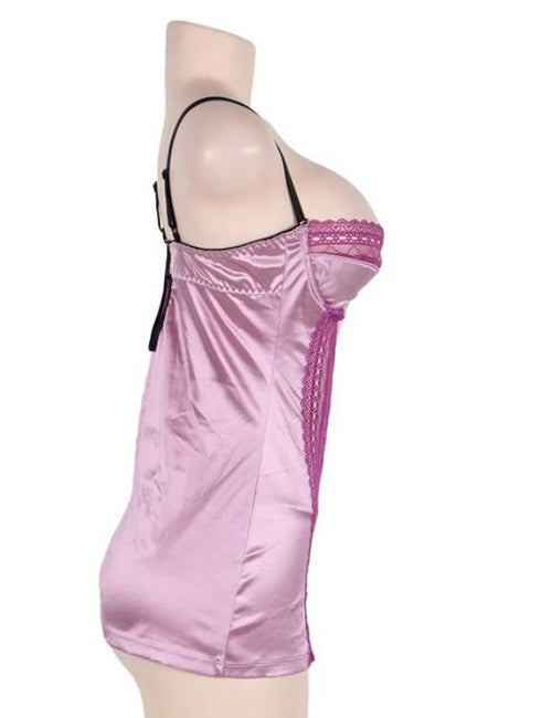Plus Size Satin Rose Red Sleepwear