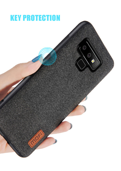 free shipping db4f2 beb6d Silicone Edge Full Cover Fabric Samsung Galaxy Note 9 Case