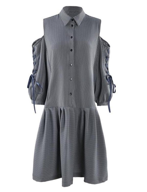 Three Quarter Sleeve Striped Off Shoulder A-Line Shirt Dress