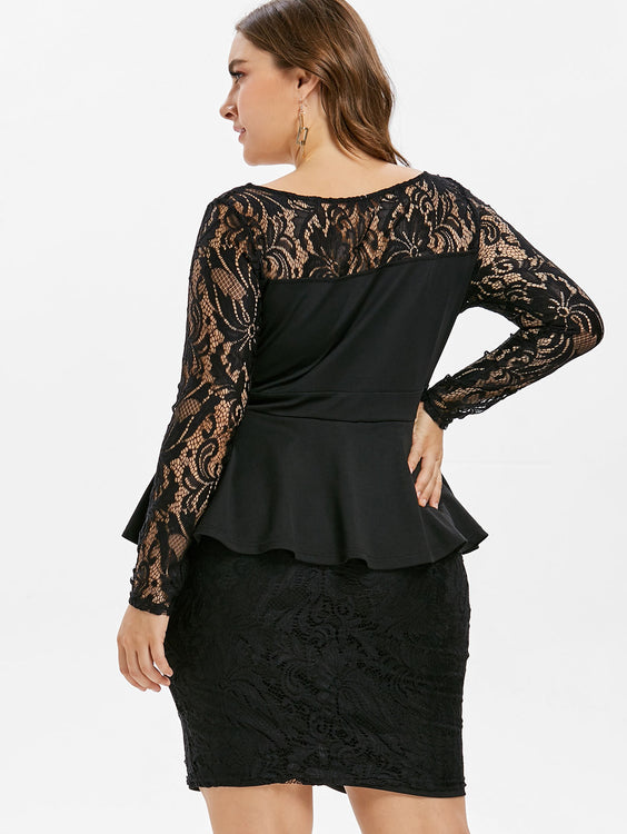 Lace Panel Long Sleeves Plus Size Dress