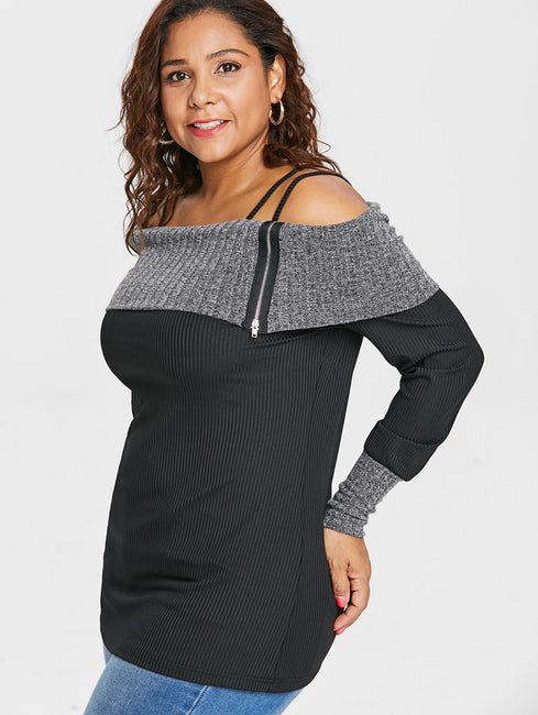 Open Shoulder Zippers Ribbed Fold Over Plus Size Top
