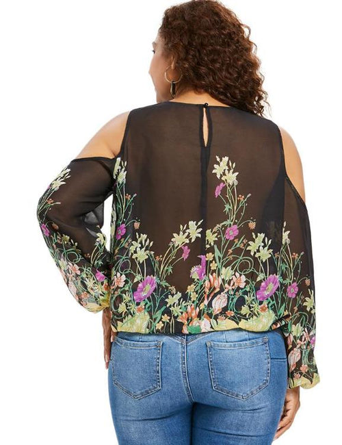 Cold Shoulder Floral Print Plus Size Blouse