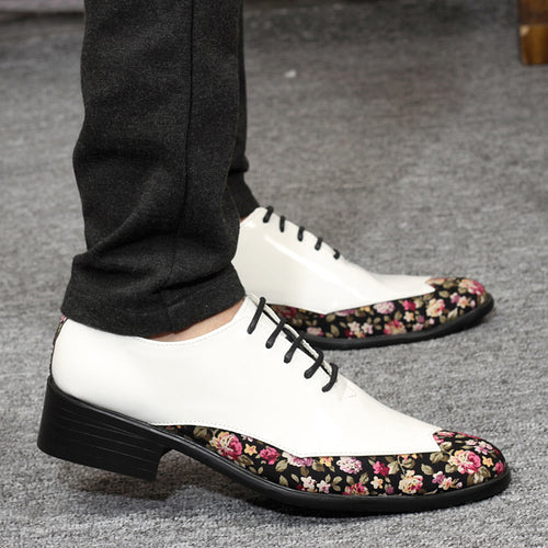 Flower Pattern Stitching Men Oxford Shoes Patent Leather Pointed Toe