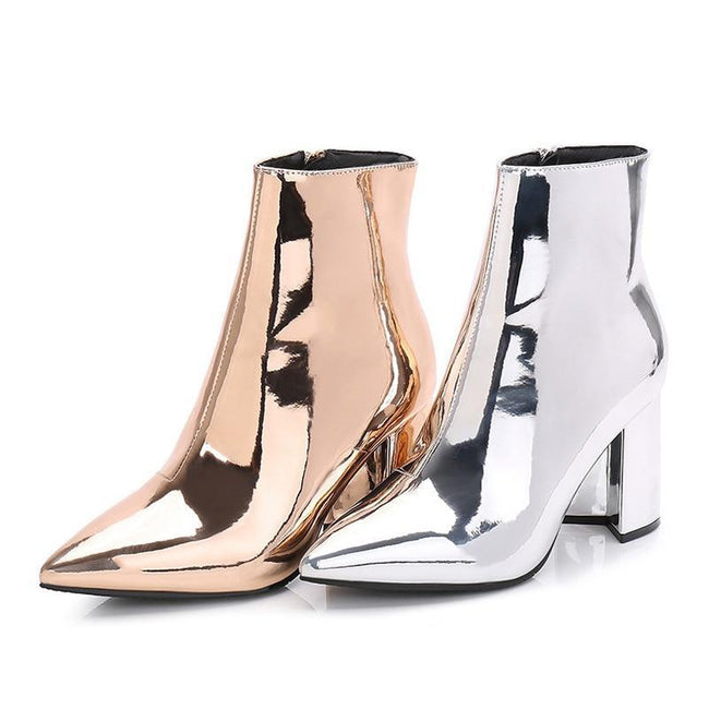 Pointed Toe Mirror Chunky High Heels