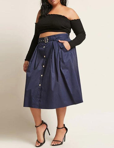 Plus Size Mid-Calf Button A-Line Loose Skirt