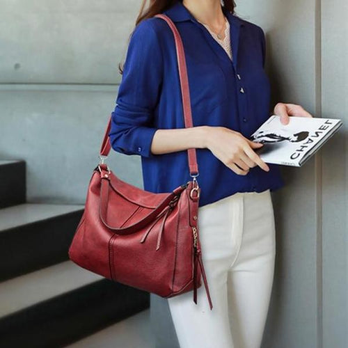 Luxury Women Soft Leather Handbag Solid Color