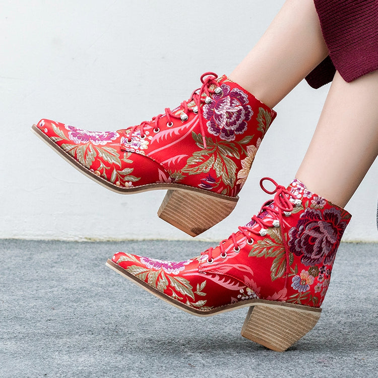 Luxury Embroidered Lace Up Silk Boots