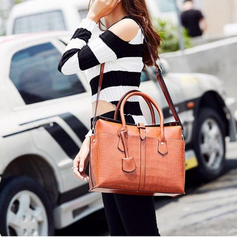 Women Leather Bag Buckle Pure Color Hasp