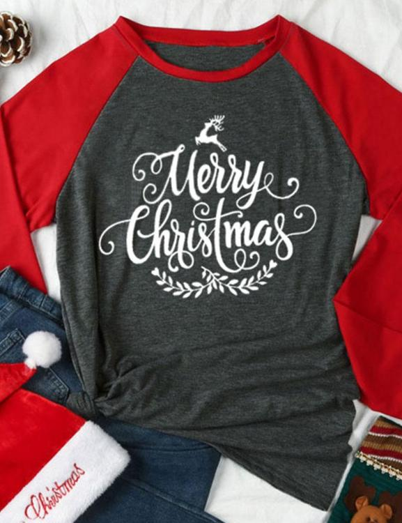 Plus Size Merry Christmas Letter Print Cute T-Shirt