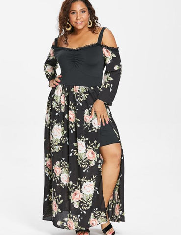 Plus Size Cold Shoulder Floral High Split Dress