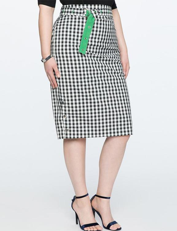 Plus Size Loose Sashes Knee Length Pencil Plaid Skirt