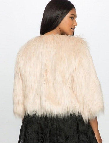 Plus Size Faux Fur Three Quarter Single Button Coat