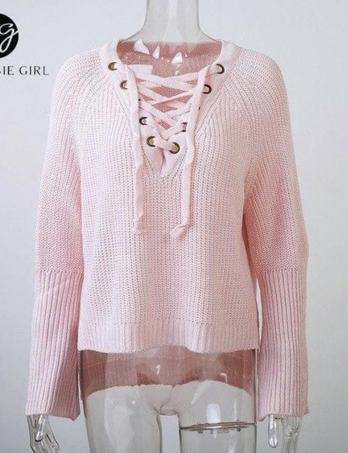 Lace Up High Street  Casual Knit  Pullovers Long Sleeve  Sweater