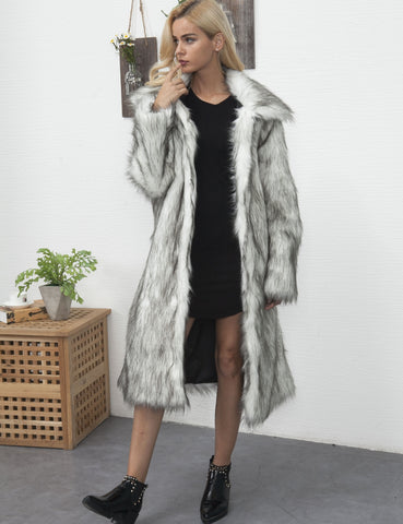 Warm Women Long Fur Coat Turn-down Collar