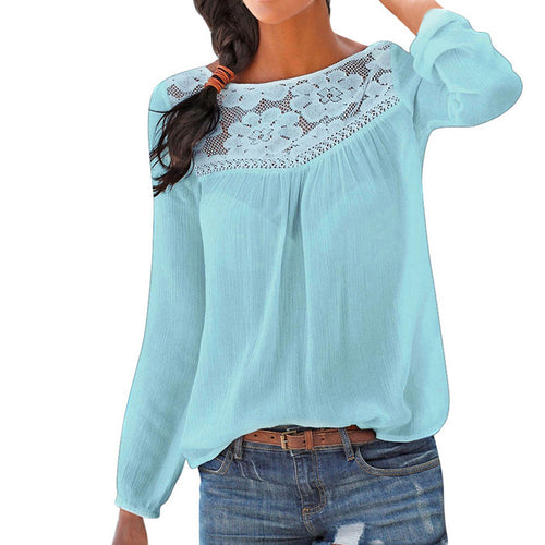 Women Casual Long sleeve Lace Patchwork Tops